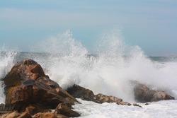 sea, waves crashing against the rocks, seagulls flying