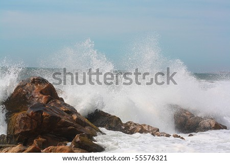 sea, waves crashing against the rocks, seagulls flying