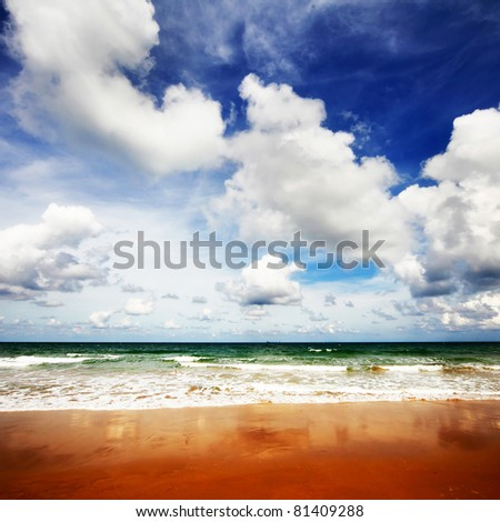Sea with waves and blue sky with fluffy clouds