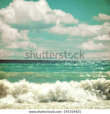 sea with waves and clouds sky - picture in retro style #145314421