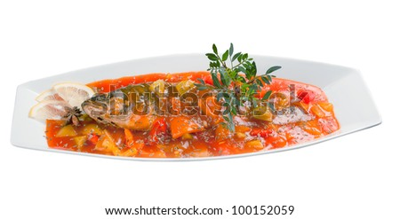 Sea wolf with vegetable.Chinese style