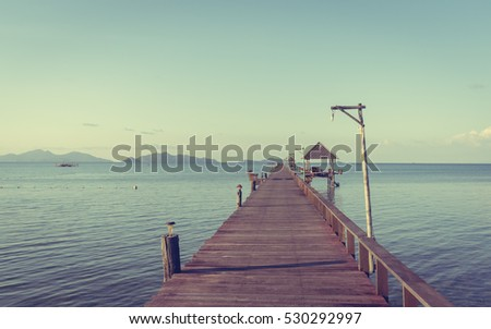 sea wooden bridge  vintage...