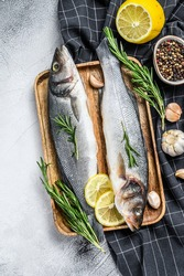 Seabass fish with herbs, raw sea bass. Gray background. Top view
