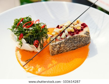 seabass haute cuisine dish with herbs and vegetable puree stock photo 103614287 shutterstock. Black Bedroom Furniture Sets. Home Design Ideas