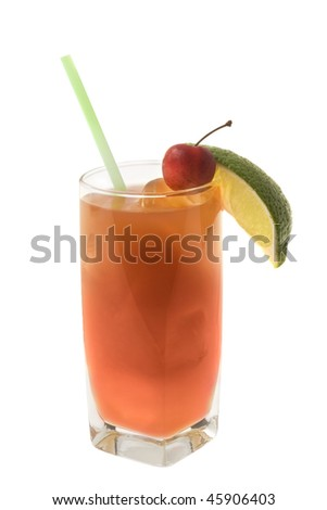 Seabreeze mixed drink with lime and cherry garnish on white background