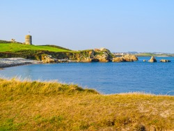 Seacoast and view of the gulf. Landscape on the Guernsey, Channel Islands