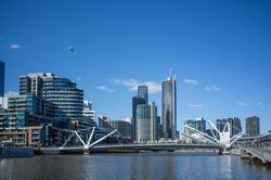 Seafarers Bridge over Yarra River in South Wharf , Melbourne CBD.