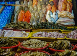 Seafood at fish market of Seaside Dampa Macapagal in Manila, Philippines.