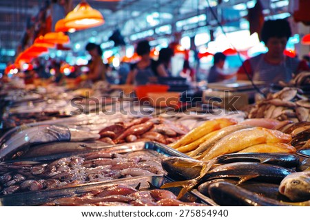 Photo of  seafood at the fish market