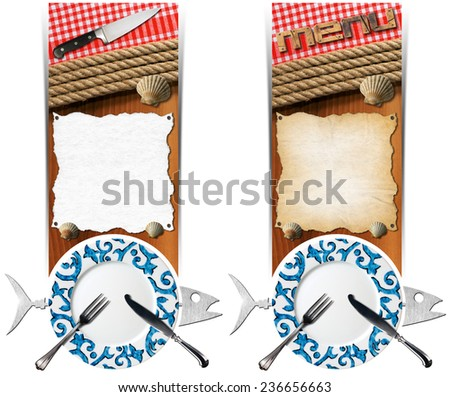 Seafood Banners. Two vertical banners with metal fish, plate with cutlery, empty parchment on wooden background with ropes, kitchen knife, checkered tablecloth and seashells. Template for seafood