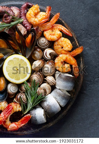 Seafood charcuterie platter board with shrimp, oysters, fish and octopus on black background. Top view, close up