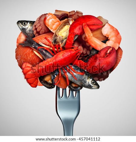 Seafood concept as a group of shellfish crustacean and fish  grouped together on a fork as a fresh meal from the ocean as lobster steamed clams mussels shrimp octopus and sardines.