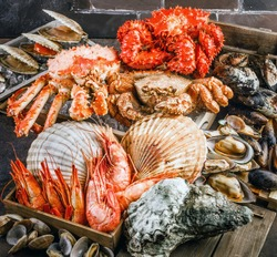 Seafood cuisine plate as an ocean gourmet dinner background. Crab, seashells, oysters, shrimp and other seafood delicacies.