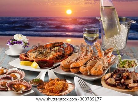 seafood dinner at restaurant to the sea