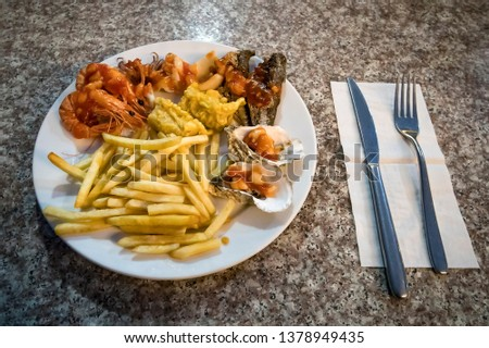 seafood dinner at restaurant to the sea. Vietnam ha long Bay night, nighttime, tonight #1378949435