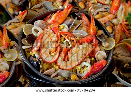 Seafood dish of lobster, prawns, squid, mussels.