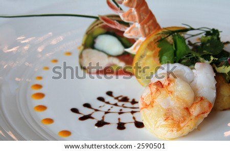 Seafood gourmet entree or dish