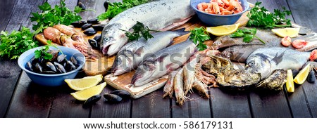 Seafood. Healthy diet eating concept. View from above