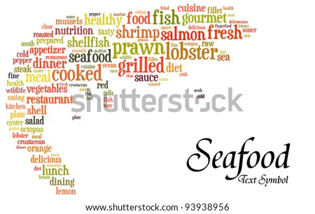 Seafood info-text(cloud word) composed in the shape of a prawn on white background