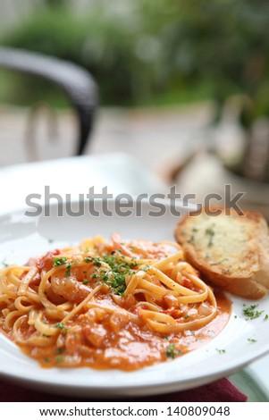 Seafood Linguine cream sauce