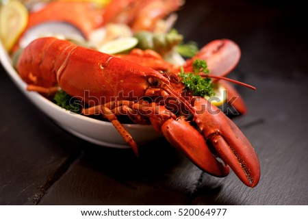 Seafood lobster platter with ice on slate #520064977