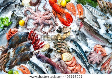 Shutterstock Seafood on ice at the fish market