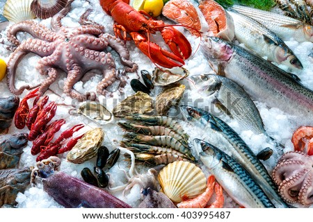 Photo of  Seafood on ice at the fish market