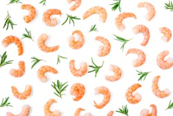 Seafood Pattern. Raw peeled shrimps with herbs isolated on white background. Seafood Shrimp Collection. Top view. Flat lay