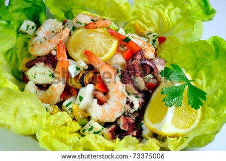 Seafood Salad on lettuce