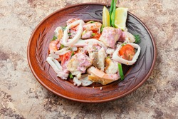 Seafood salad with prawns, mussels and squids