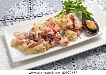 Seafood Salad With Prawns, Mussels, Squids, Octopus Stock Photo ...