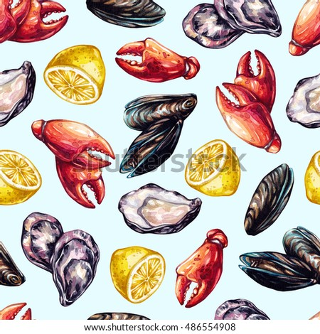 Seafood seamless pattern. Watercolor seafood. Mussels, oysters, crab claws, lemon. Watercolor pattern for a kitchen, cooking magazine. Food illustration.