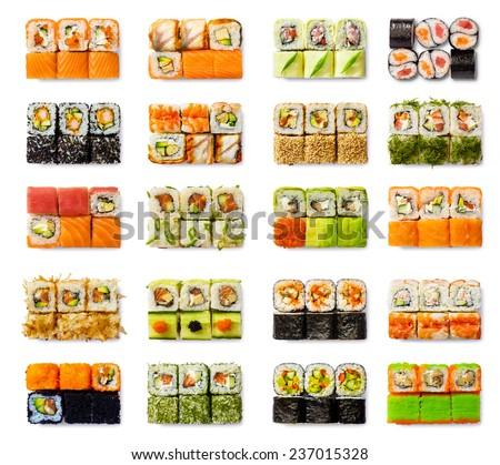 Seafood set - isolated rolls on white background Photo stock ©