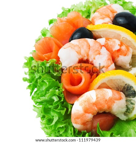 Seafood - Shrimp and Salmon. Garnished with Fresh Raw Salad Leaf.