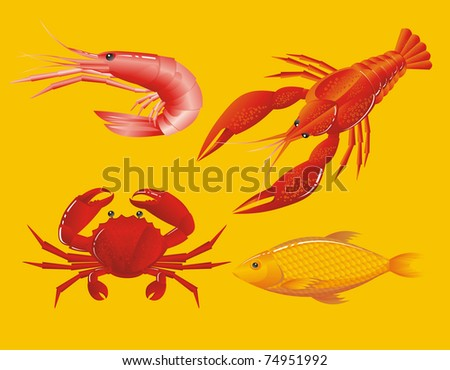 Seafood: shrimp, crayfish, crab and fish
