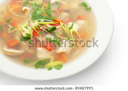 Seafood Soup with Shrimps and Fresh Vegetables - stock photo