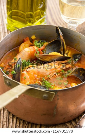 seafood stew in casserole