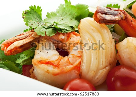 Seafoods with Vegetables and Herbs