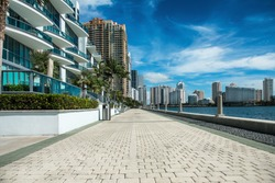 Seafront near luxury buildings and skyscrapers in Miami, Florida