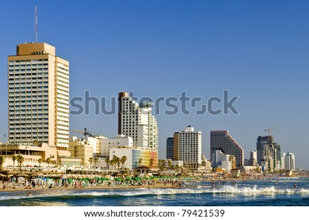 Seafront of Tel-Aviv at the of summer day, Israel - stock photo