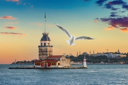 Seagull near Maiden Tower (kız kulesi) in Istanbul in the evening with cloudy sky
