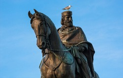 Seagull sits on the head of the statue Giuseppe Garibaldi Italian Hero and Patriot in Rome