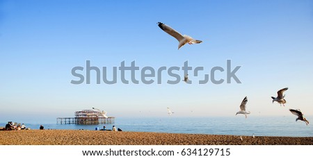 Seagulls and West Pier, Brighton, U.K., 2017. A flock of seagulls flies over Brighton beach on the south coast of England with the ruins of the famous West Pier in the background.