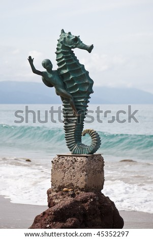 Seahorse sculpture  on Los Muertos beach, Puerto Vallarta, Mexico