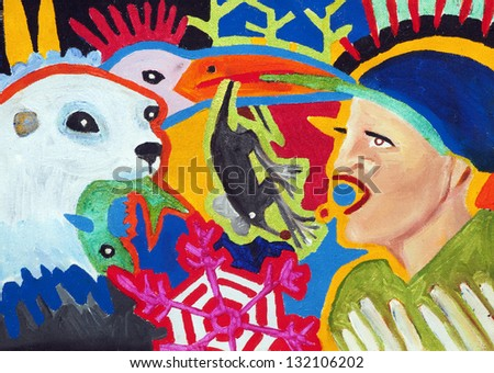 seal, bird, mouse, fish, men, painting - stock photo