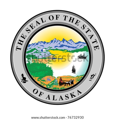 Seal of American state of Alaska; isolated on white background.