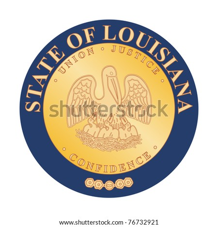 Seal of American state of Louisiana; isolated on white background.