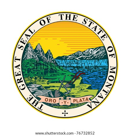 Seal of American state of Montana; isolated on white background.