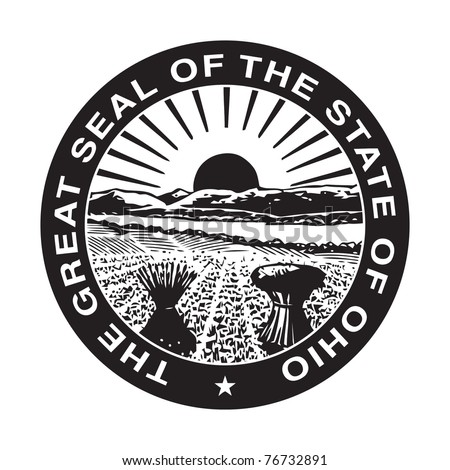 Seal of American state of Ohio; isolated on white background.