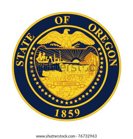 Seal of American state of Oregon; isolated on white background.